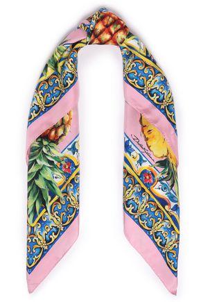 DOLCE & GABBANA Printed silk-twill scarf