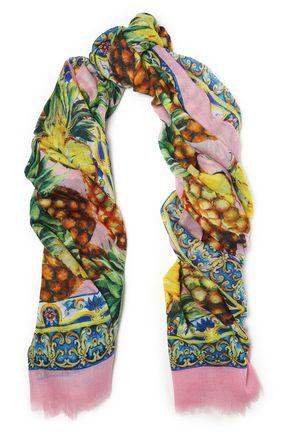 DOLCE & GABBANA Frayed printed cashmere-gauze scarf