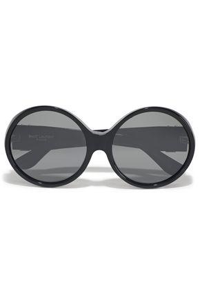 SAINT LAURENT Round-frame logo-embellished acetate sunglasses