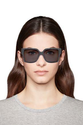 Saint Laurent Woman D-Frame Glittered Acetate Sunglasses Black