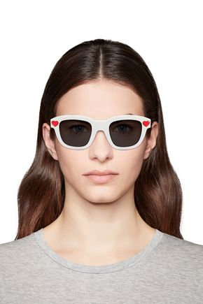 Saint Laurent Woman D-Frame Crystal-Embellished Acetate Sunglasses White