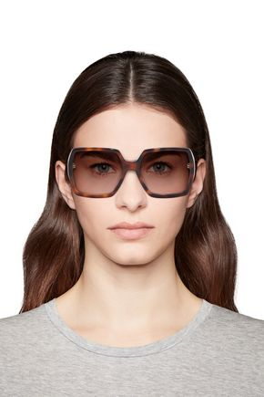 Saint Laurent Square-Frame Tortoiseshell Acetate Sunglasses In Brown