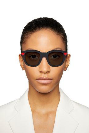 Saint Laurent Woman D-Frame Crystal-Embellished Acetate Sunglasses Black