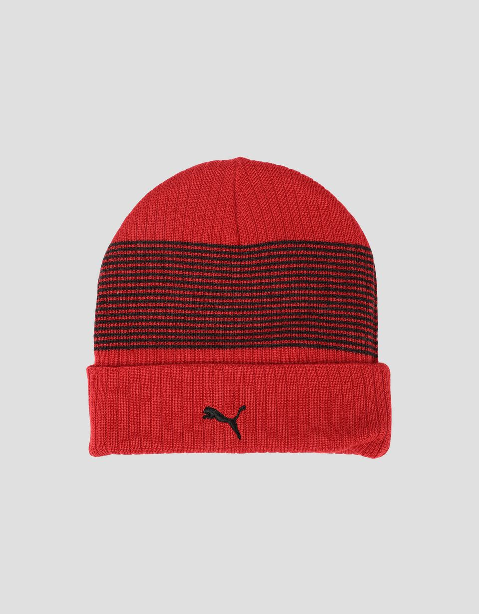 Scuderia Ferrari Online Store - Puma Scuderia Ferrari knit beanie with turn-up - Beanie Hats