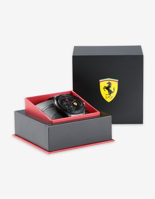 Scuderia Ferrari Online Store - Steel Speedracer chronograph watch with black bracelet - Chrono Watches