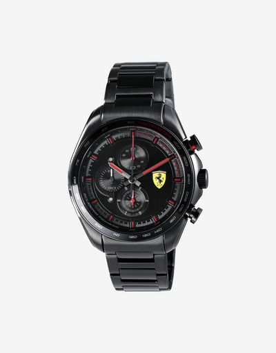 Steel Speedracer chronograph watch with black bracelet