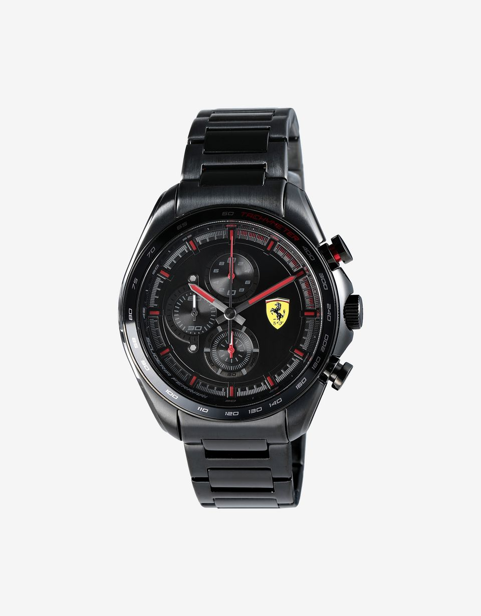 Scuderia Ferrari Online Store - Steel Speedracer chronograph watch with black strap - Chrono Watches