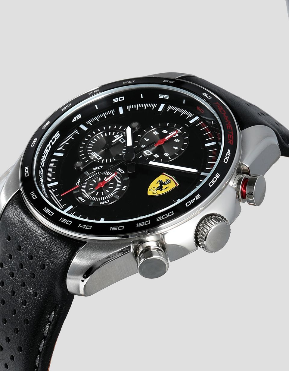 Scuderia Ferrari Online Store - Speedracer chronograph watch with perforated black leather strap with gray details - Chrono Watches