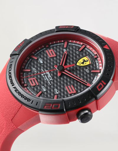 Apex quartz watch with red silicone strap