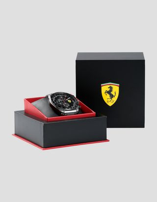 Scuderia Ferrari Online Store - Steel Speedracer chronograph watch with grey strap - Chrono Watches