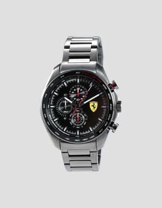 Scuderia Ferrari Online Store - Steel Speedracer chronograph watch with gray bracelet - Chrono Watches