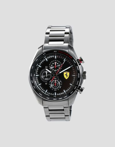 Steel Speedracer chronograph watch with grey strap