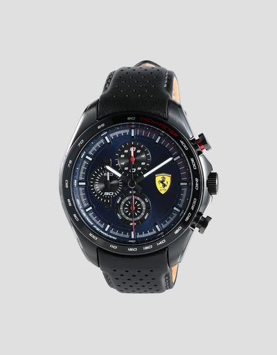 Speedracer chronograph watch with perforated black leather strap and blue dial