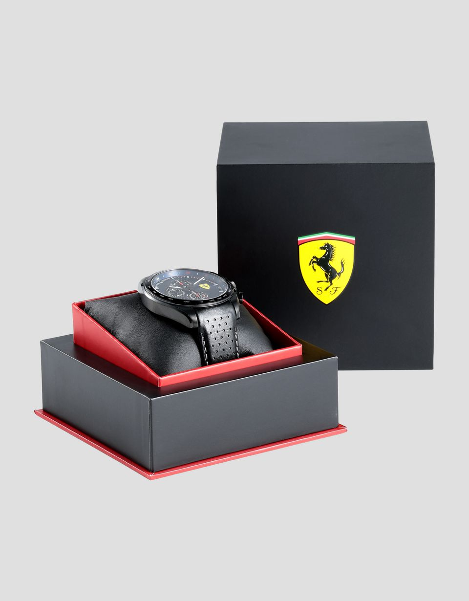 Scuderia Ferrari Online Store - Speedracer chronograph watch with perforated leather strap and blue dial - Chrono Watches