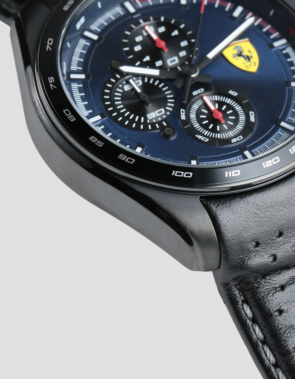 Scuderia Ferrari Online Store - Speedracer chronograph watch with perforated black leather strap and blue dial - Chrono Watches