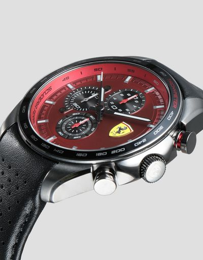 Speedracer chronograph watch with perforated leather strap and red dial