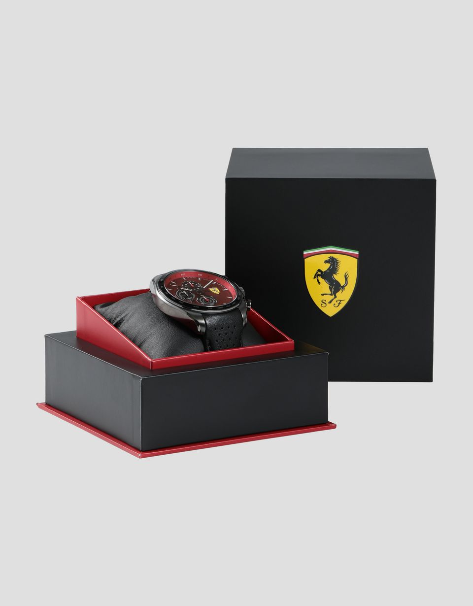 Scuderia Ferrari Online Store - Speedracer chronograph watch with perforated leather strap and red dial - Chrono Watches