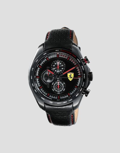 Speedracer chronograph watch with perforated leather strap