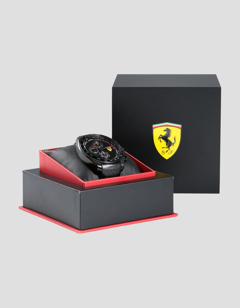 Scuderia Ferrari Online Store - Speedracer chronograph watch with perforated leather strap - Chrono Watches