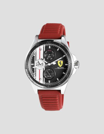 Pilota chronograph watch with red silicone strap