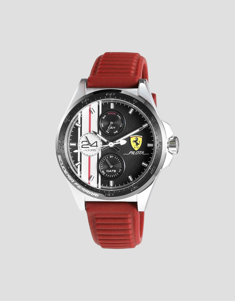 Scuderia Ferrari Online Store - Pilota Chronograph watch with red silicone strap - Chrono Watches