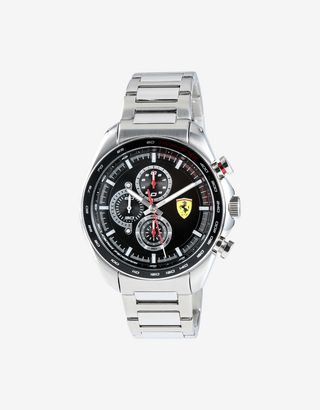 Scuderia Ferrari Online Store - Steel Speedracer chronograph watch with black dial - Chrono Watches