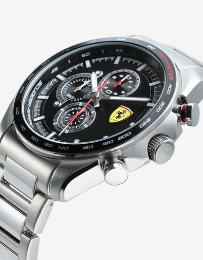 Steel Speedracer chronograph watch with black dial