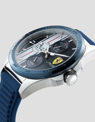 Scuderia Ferrari Online Store - Pilota Chronograph watch with blue silicone strap - Chrono Watches