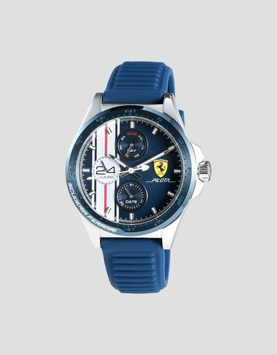 Pilota chronograph watch with blue silicone strap