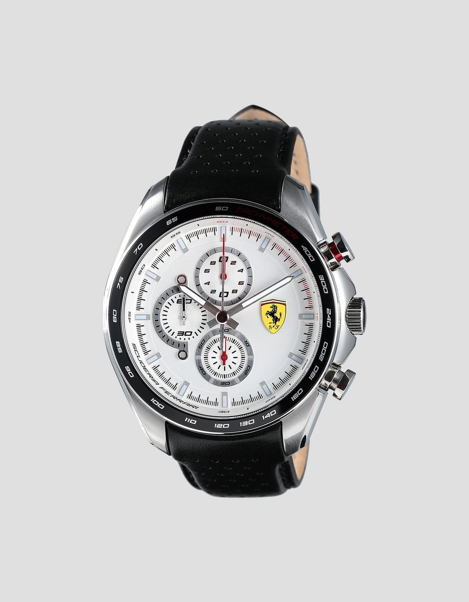 Scuderia Ferrari Online Store - Speedracer chronograph watch with perforated leather strap -
