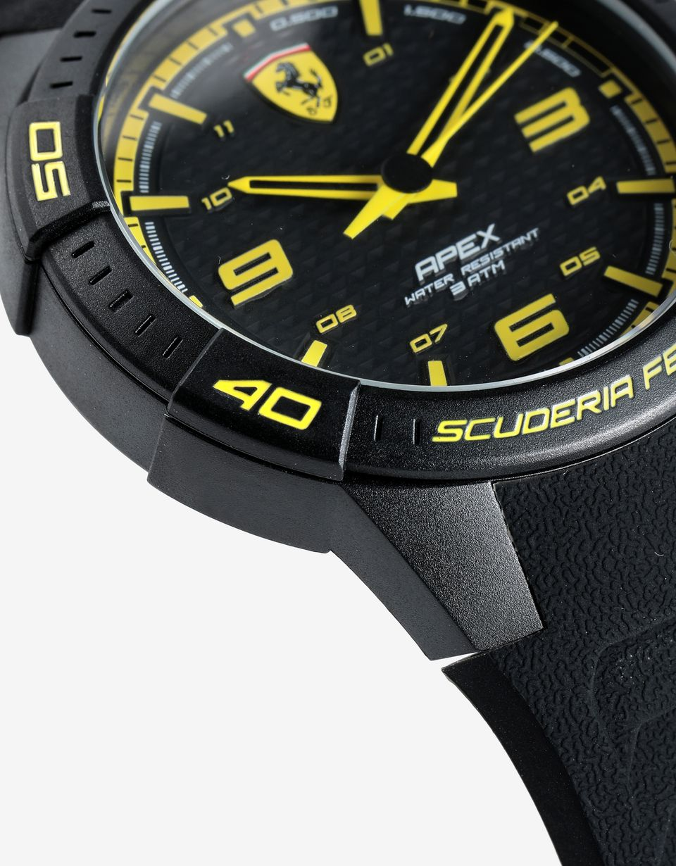 Scuderia Ferrari Online Store - Apex quartz watch with silicone strap and yellow details - Quartz Watches