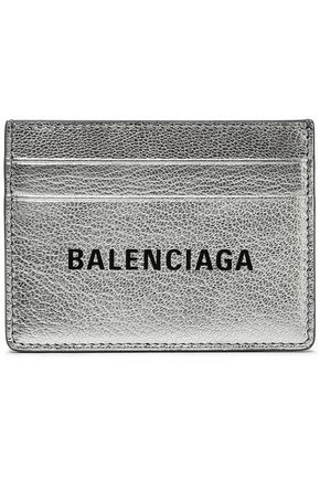BALENCIAGA Logo-print metallic textured-leather cardholder