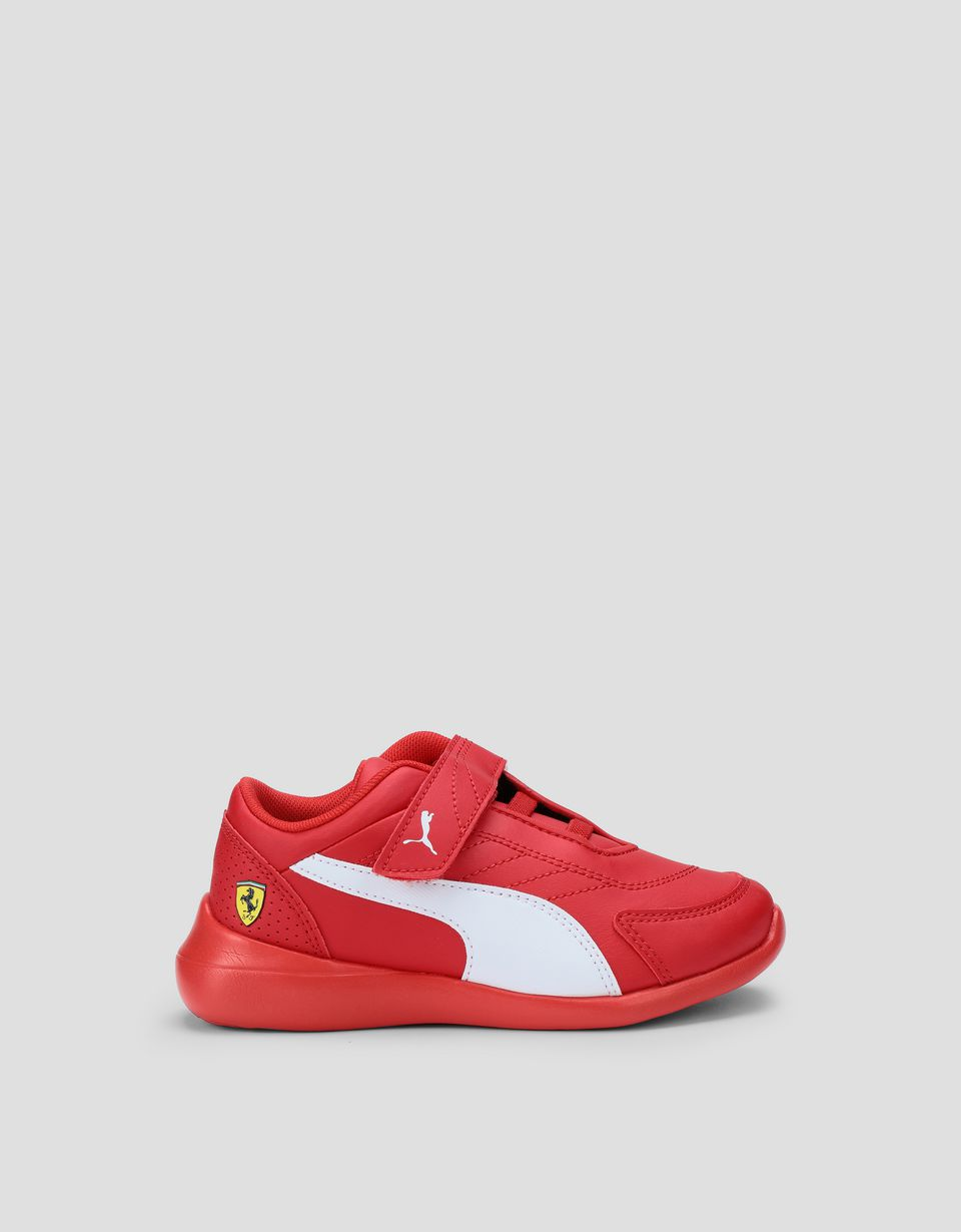 Scuderia Ferrari Online Store - Puma Scuderia Ferrari Kart Cat III Shoes for boys with Velcro strap - Active Sport Shoes