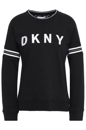 DKNY Embroidered striped French cotton-blend terry sweatshirt