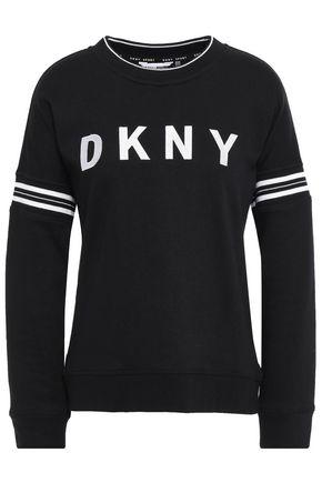 DKNY سويتشيرت من قماش تيري المصنوع من مزيج القطن الفرنسي المخطط والمطرز