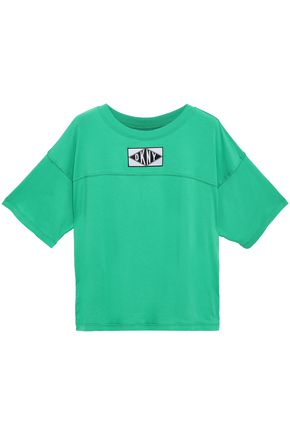 DKNY Appliquéd stretch-cotton and modal-blend jersey T-shirt
