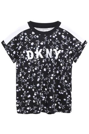 DKNY Printed stretch-cotton and modal-blend jersey T-shirt