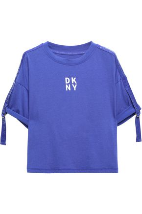 DKNY Buckle-embellished stretch-cotton and modal-blend jersey top