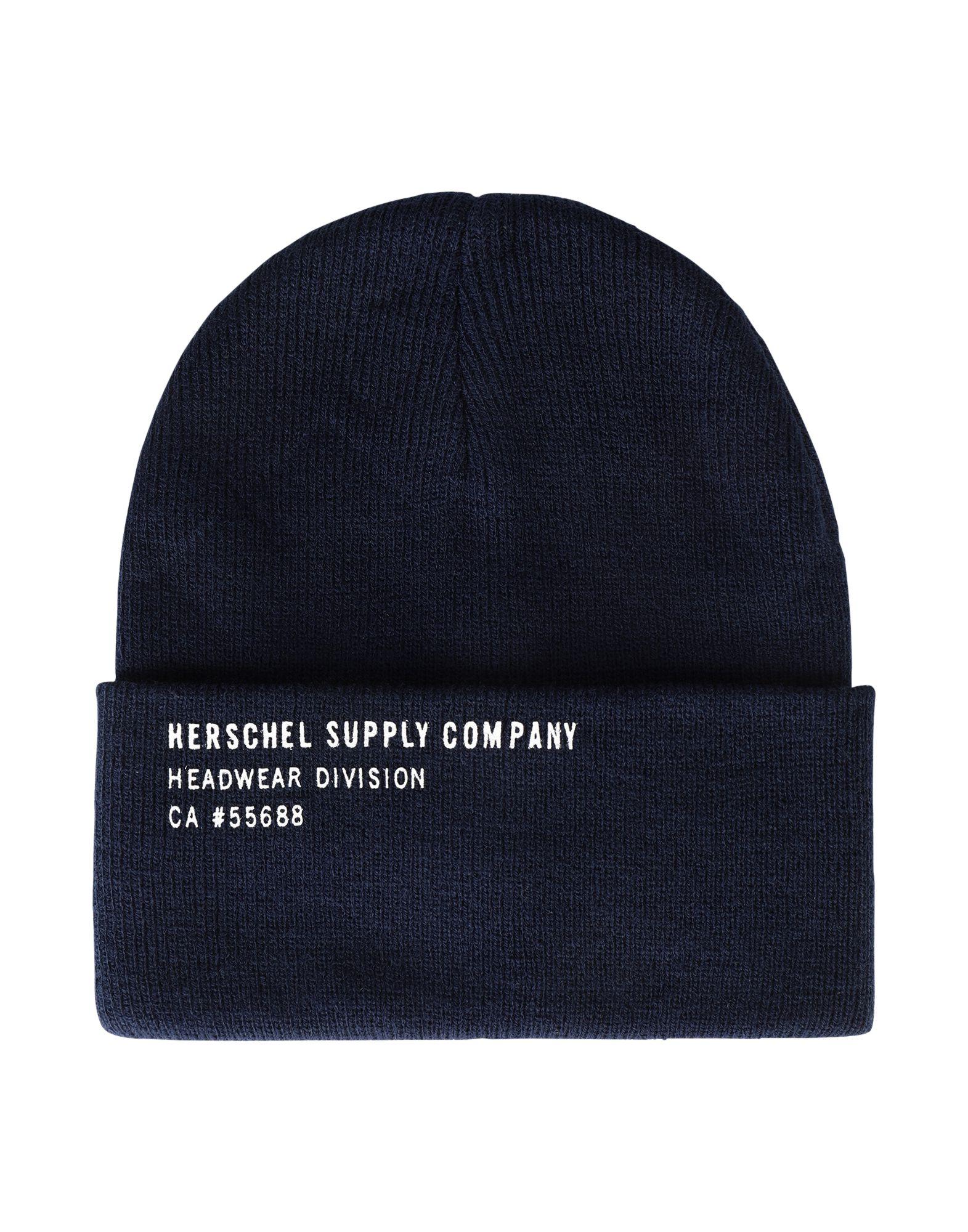 《セール開催中》HERSCHEL SUPPLY CO. Unisex 帽子 ダークブルー one size アクリル 100% ELMER PRINT