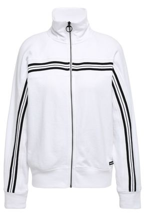 DKNY Embroidered strioped French cotton-blend terry track jacket