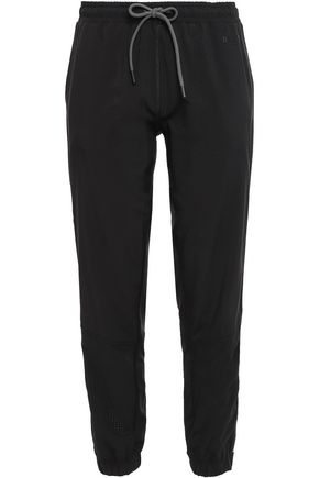DKNY Cropped striped perforated shell track pants