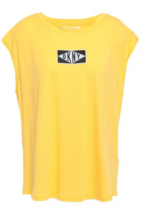 DKNY Appliquéd stretch-cotton and modal-blend jersey top