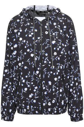 DKNY Floral-print scuba hooded track jacket