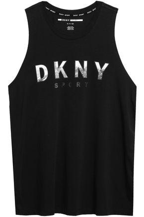 DKNY Printed stretch-cotton jersey tank
