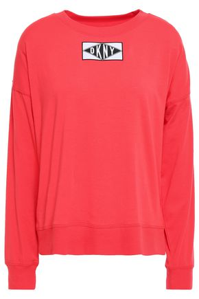 DKNY Appliquéd cotton-blend jersey top