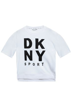 DKNY Printed cotton-blend jersey sweatshirt