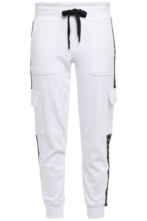 DKNY Printed French cotton-blend terry track pants