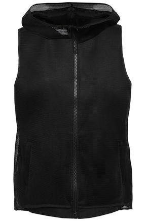 DKNY Mesh-trimmed printed shell hooded vest