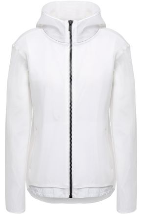 DKNY Mesh-trimmed printed shell hooded jacket