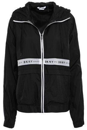 DKNY Paneled printed shell hooded jacket